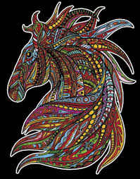colour in drawing with velvet embossed borders wind the horse