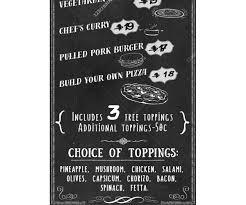 retro chalkboard food menu template pizza snack bar restaurant