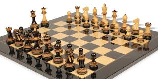 Chess Table by Parker Staunton Chess Set In Burnt Boxwood With Black Ash Burl