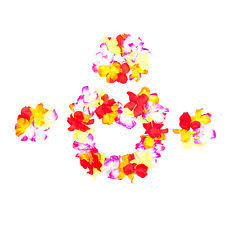 hawaiian set hula flower garland aloha neck dress fancy