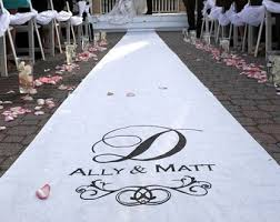 wedding runner wedding aisle runner personalized white