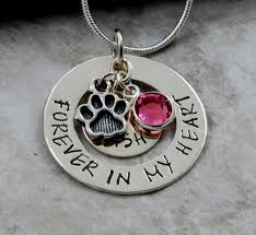 personalized paw print necklace forever in my heart pet memorial necklace pendant sterling silver