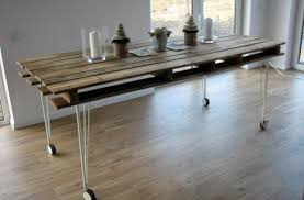 Dining Table And Chairs On Wheels 13 Easy And Cost Effective Diy Pallet Dining Tables Shelterness