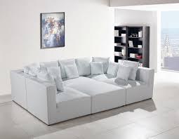 White Leather Sectional Sofas Divani Casa 206 Modern White Bonded Leather Sectional Sofa