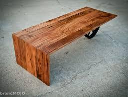 custom made coffee tables custom made wheeled waterfall coffee table by brandmojo interiors