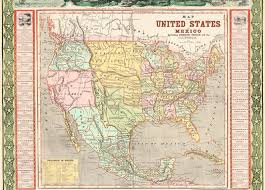 Texas And Mexico Map by Ornamental Map Of The United States U0026 Mexico Map Of The United
