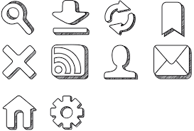 hand sketch set of 10 icons blog fasttrackcreations