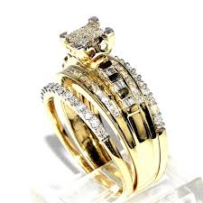 yellow gold wedding ring sets princess cut bridal rings set 10k yellow gold 0 75ct