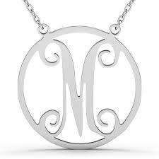 monogrammed necklace sterling silver single letter in circle monogram necklace sterling silver jeulia