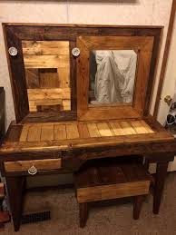 Makeup Vanity With Chair Rustic Pallet Vanity With Stool