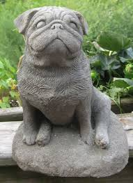 concrete pug statue or memorial by springhillstudio on etsy