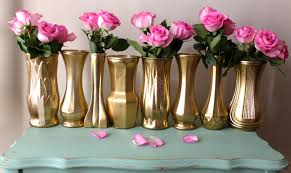 Vases For Home Decor Metallic Yellow Gold Distressed Floral Vases Mixed Set Wedding