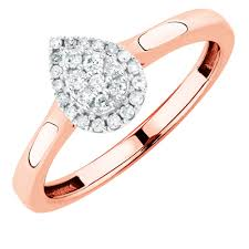 ring with 0 15 carat tw of diamonds in 10ct rose gold