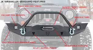 Vanguard Lighting Jk Front Bumper Vanguard Full Width Jeep Wrangler 07 17