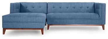 Blue Sectional Sofa With Chaise by Harrison Midcentury Twil Sofa Chaise Sectional Modern