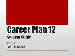 career plan 12 student guide resume job application ppt download