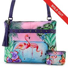 style at home with margie tiffany ls anuschka 3 piece hand painted leather crossbody bag w coin pouch