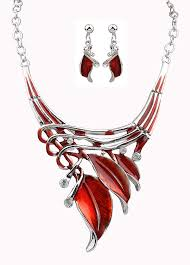 red necklace women images Fashion red jewelry enamel jewelry statement necklace set earrings jpg