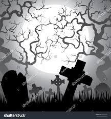 spooky halloween cemetery graveyard trees fog stock vector