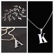 stainless ball chain necklace images 2018 new design a z letter charm pendant necklaces for men ball jpg