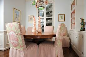 Dining Room Chair Cover Extraordinary Dining Room Chair Covers Dominated Peach Stripes
