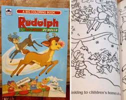vintage christmas coloring books etsy