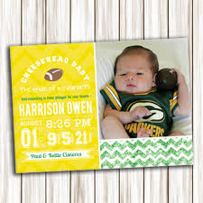 bay bay baby birth announcement green bay packers baby announcement