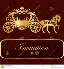invitation card with golden lettering vintage horse carriage