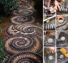Diy Rock Garden Diy Swirl Pebble Mosaic Garden Path
