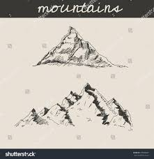 mountain scenery sketch hand drawing engraving stock vector