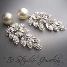 and pearl chandelier earrings pearl bridal earrings pearl and rhinestone flower petal