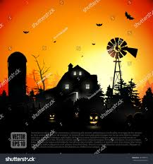 haunted farmhouse woods halloween background stock vector