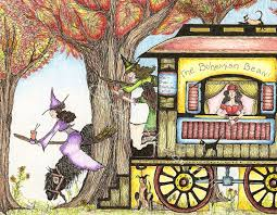 Folk Art Halloween Decorations Witch Folk Illustration Coffee Art Gypsy Wagon Witch Art