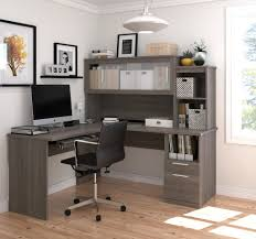 Computer Hutch Desks With Doors by Modern Bark Gray L Shaped Desk And Hutch With Frosted Glass Doors