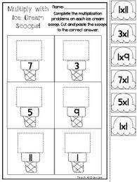 12 ice cream scoop multiplication worksheets 2nd grade 4th grade