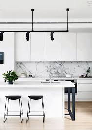 kitchen marble backsplash industrial black hanging l modern bar stools white marble