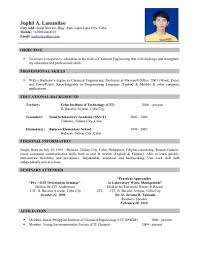 Sample Resume Information Technology Sample Resume For Ojt Industrial Technology Augustais