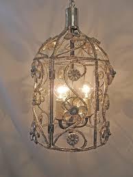 how to make a birdcage chandelier chandelier bird cage fixture custom repurposed 3 lights nickel