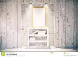 Wooden Interior Picture Frame And Bookshelf In Light Wooden Interior Stock