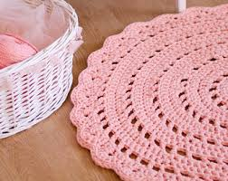 Pink Rug Nursery Light Pink Crochet Rug Nursery Rug Kids Room Rug Pink By Meruhome