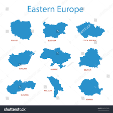 Eastern Europe Blank Map by Eastern Europe Vector Maps Territories Stock Vector 263817860
