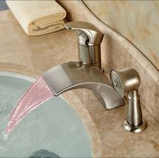 bathroom faucet with led light luxury led light widespread waterfall bathtub tub mixer taps deck