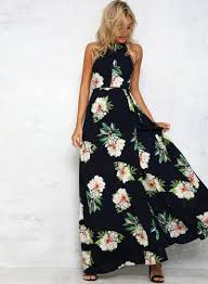 floral maxi dress women s halter neck floral print maxi dress roawe