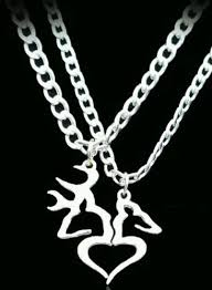 buck and doe couples necklace buck his doe heart necklace 2 pc set browning interlocking