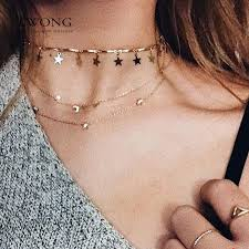 tiny necklace pendants images Lwong dainty gold color chain tiny star choker necklace for women jpg