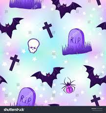 halloween purple background kawaii funny spooky seamless pattern halloween stock vector
