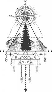tribal template compass mountain icons symmetric design