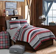 Twin Xl Grey Comforter 8 Piece Red Grey Rugby Stripes Comforter Twin Xl Red Plaid