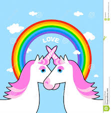 unicorn rainbow two pink unicorn and rainbow love symbol of lgbt community fan