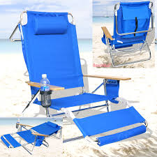 Beach Lounge Chairs Deluxe 3 In 1 Beach Chair Lounger W Drink Holder And Large
